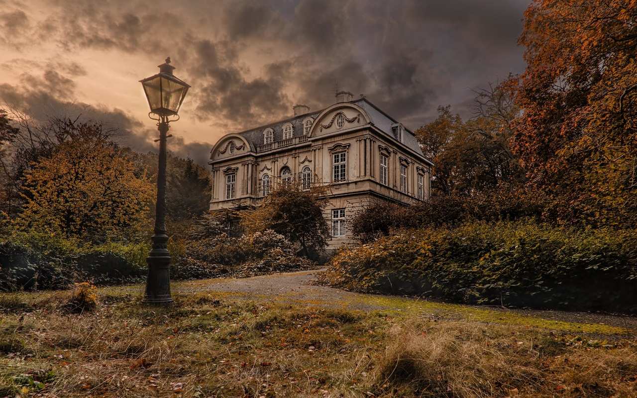 фонарь, дом, пасмурно, пейзаж