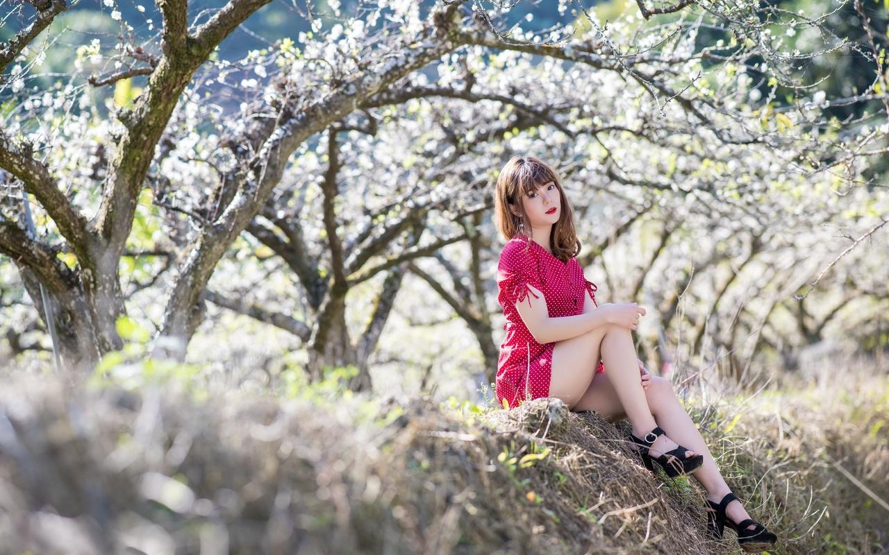 девушка, азиатка, весна
