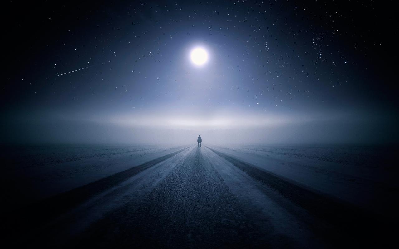 темный фон, зима, луна