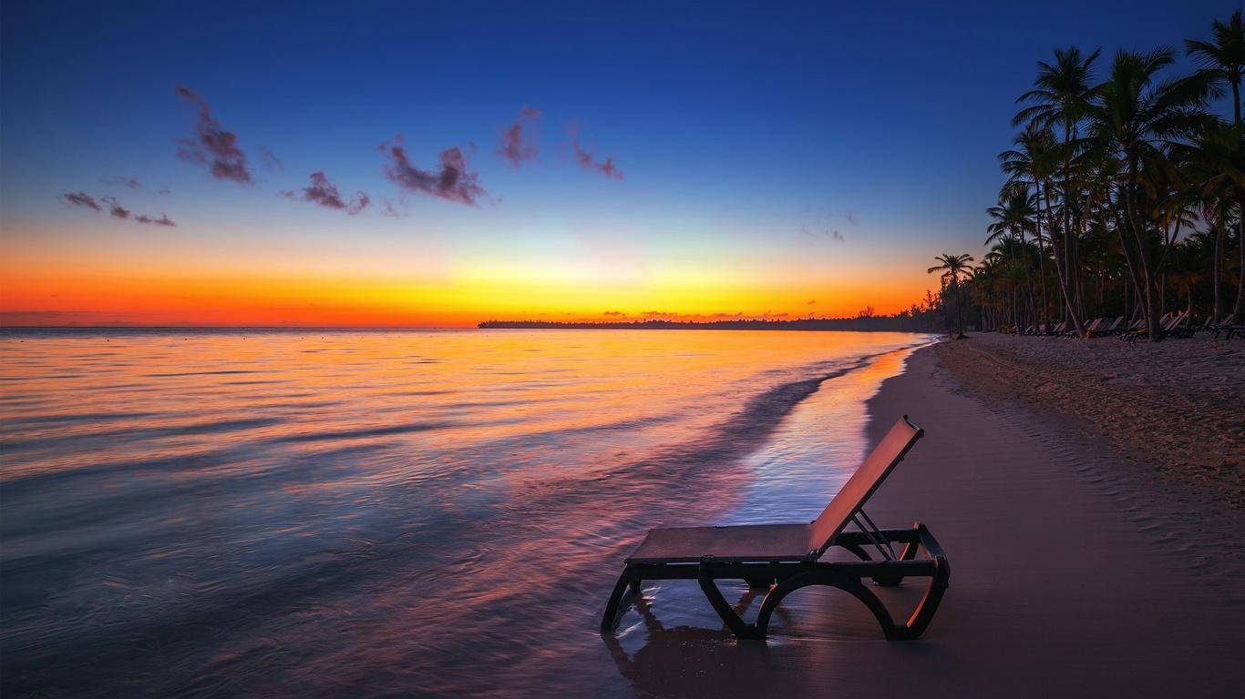 valentin valkov, шезлонг, тропики, океан, пальмы, закат