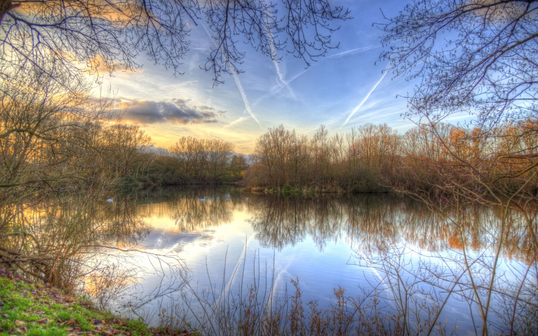 озеро, деревья, небо