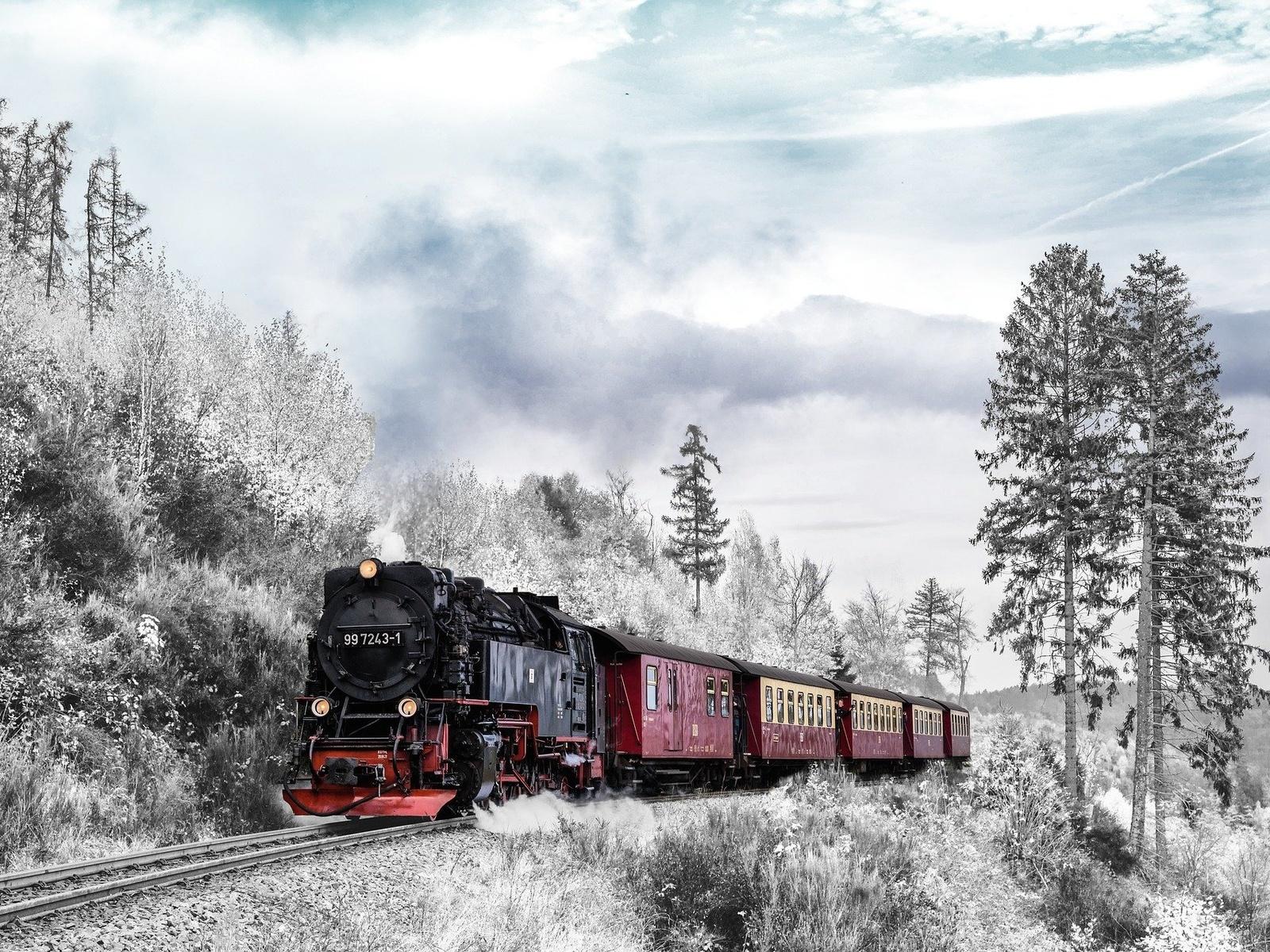 поезд, жд, паровоз, состав, зима
