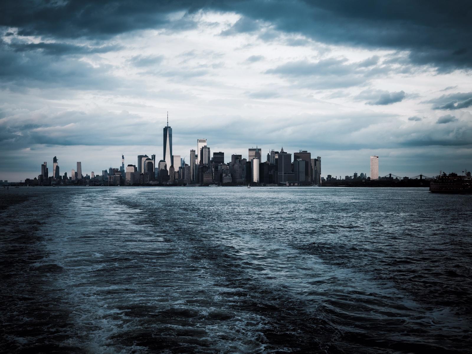 город, вода, башня, горизонт