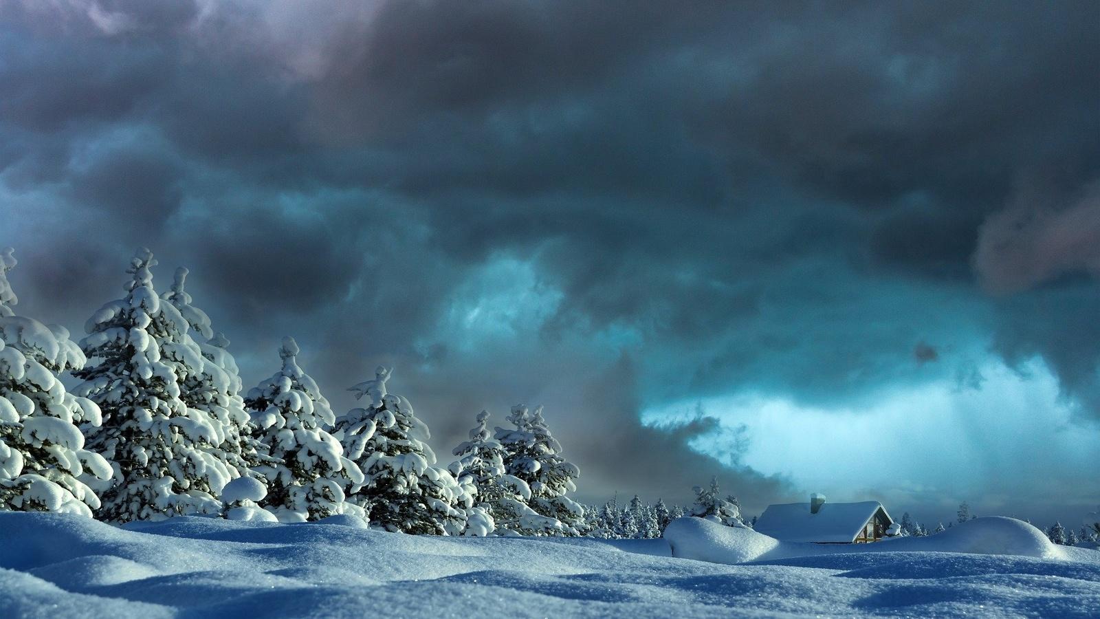 зима, снег, сугробы, тучи