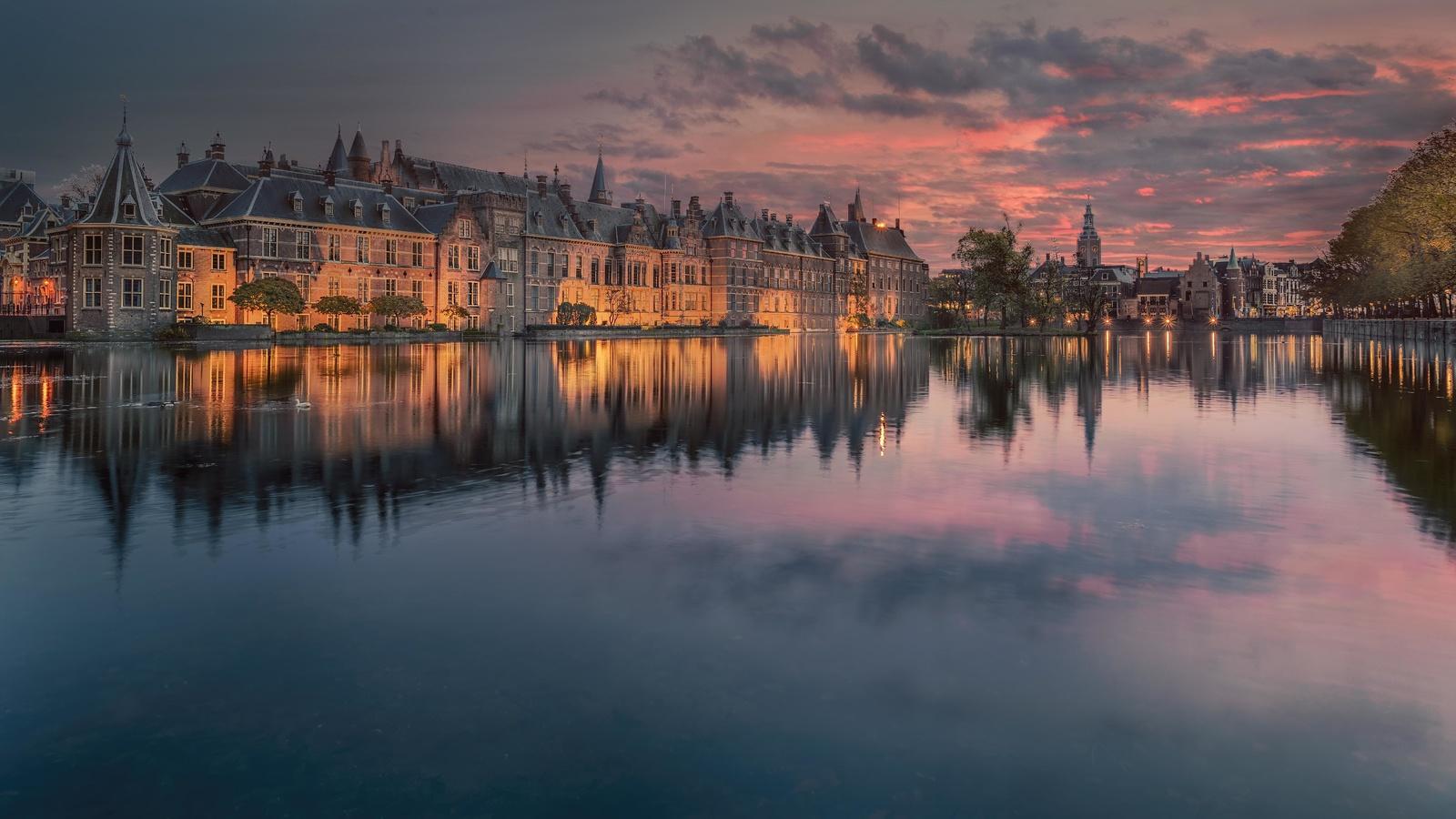 замок, дворец, озеро, отражение