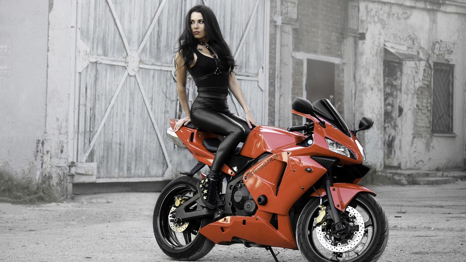 мотоцикл, девушка