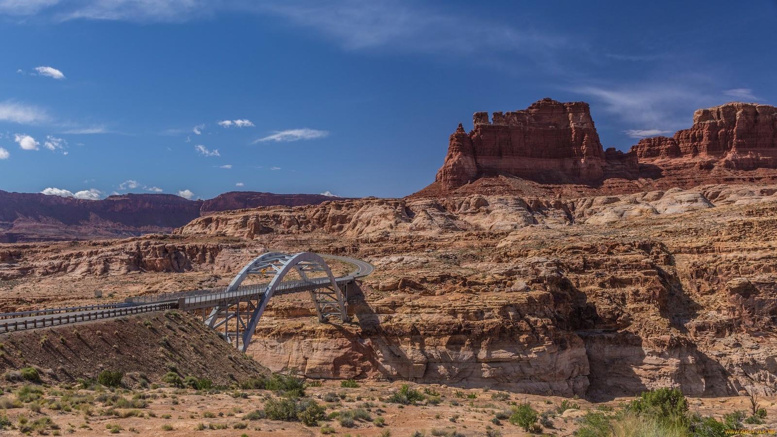 небо, горы, скалы, дорога,мост