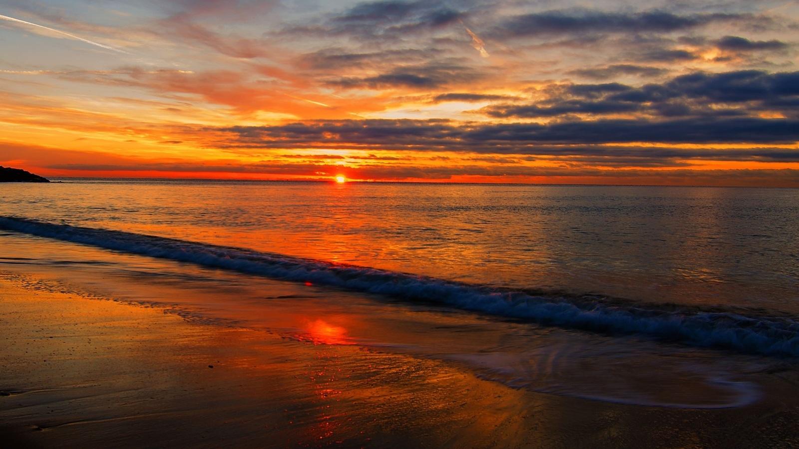 закат, море, вода, пена, пляж, небо, облака