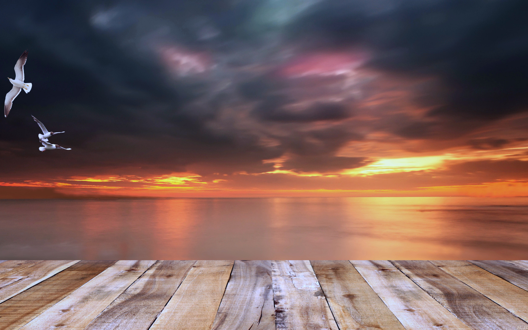 море, вечер, причал