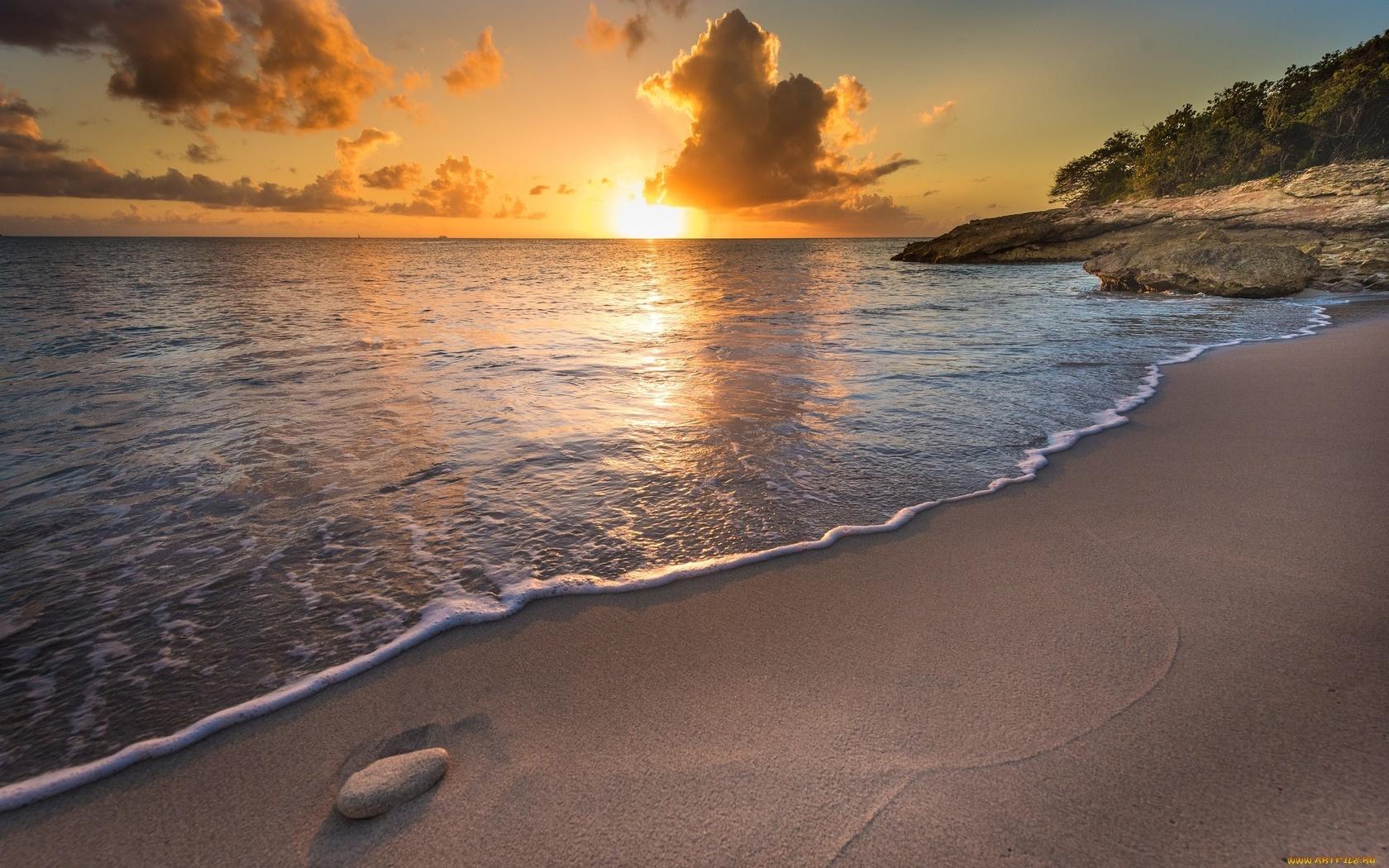 пляж, море, небо, закат