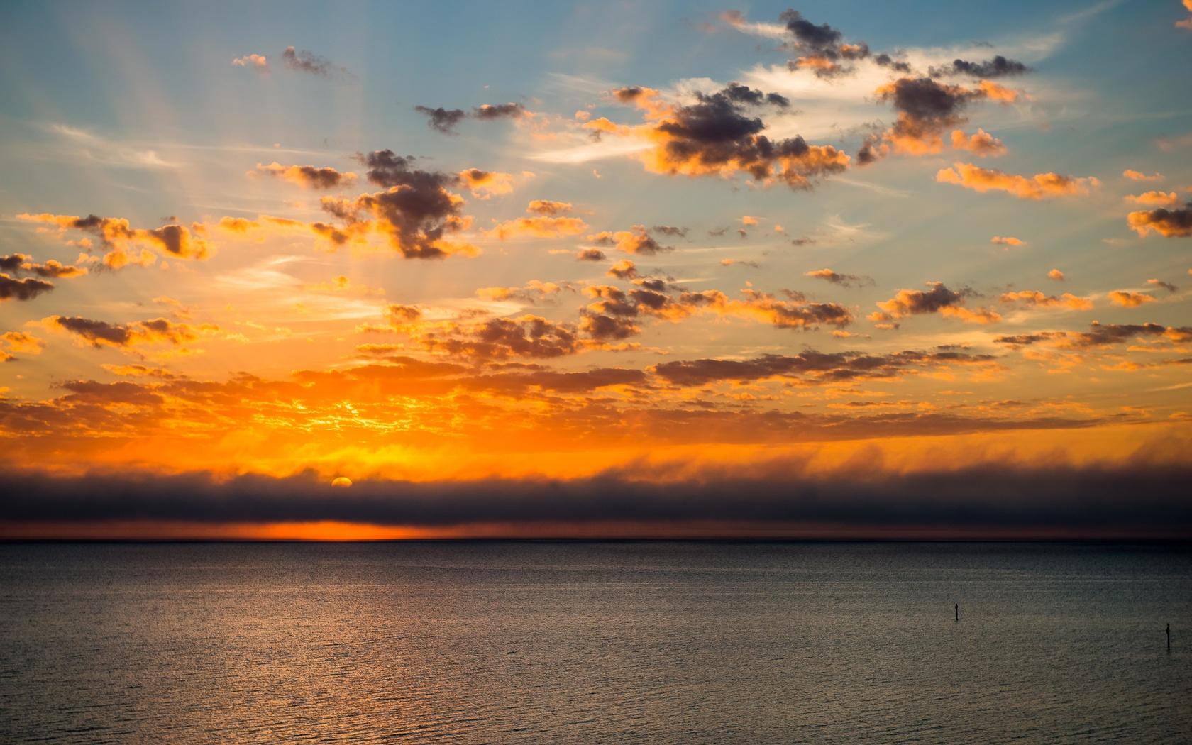 закат, горизонт, солнце, море, облака