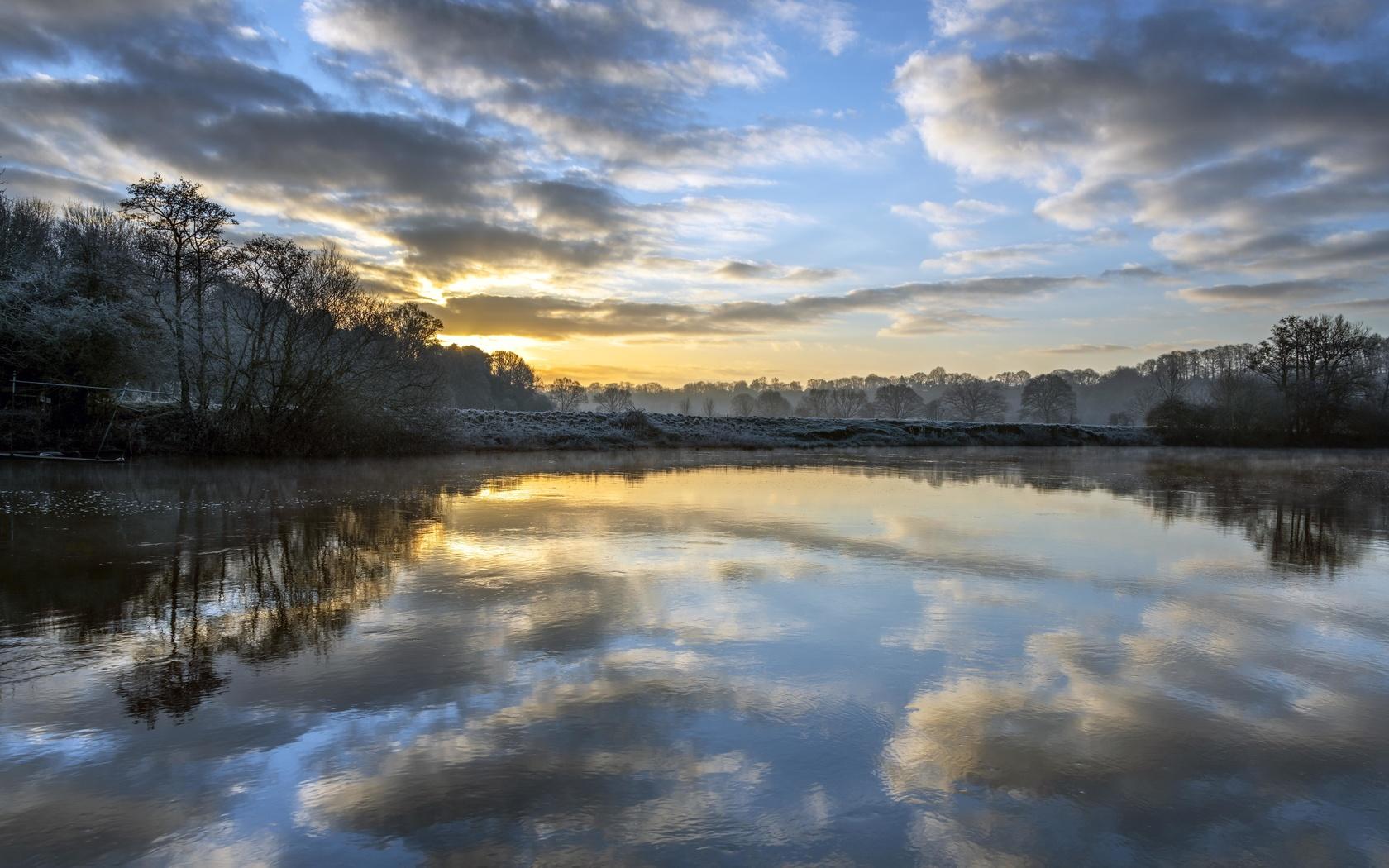 рассвет, отражение, деревья, облака