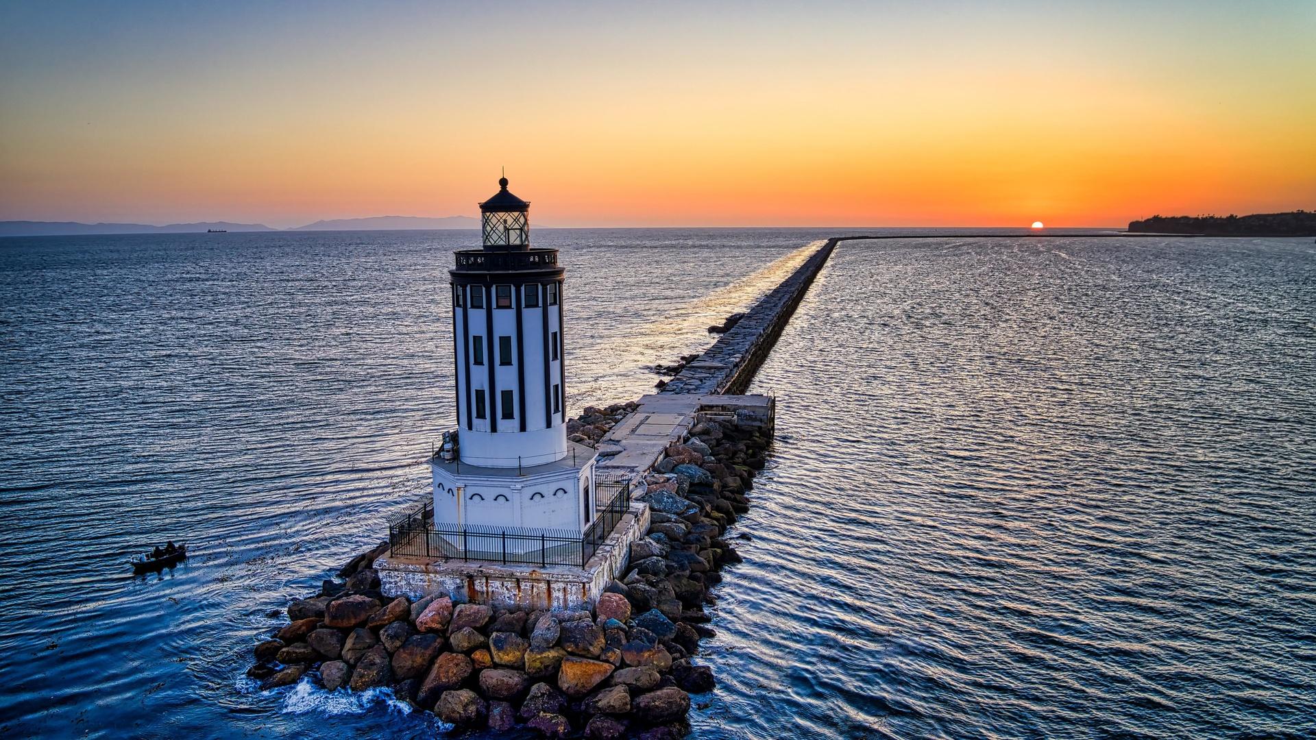 маяк, море, здание