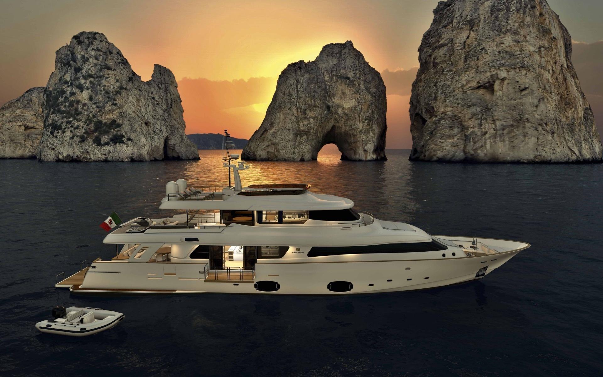 Яхта, лодка, скалы