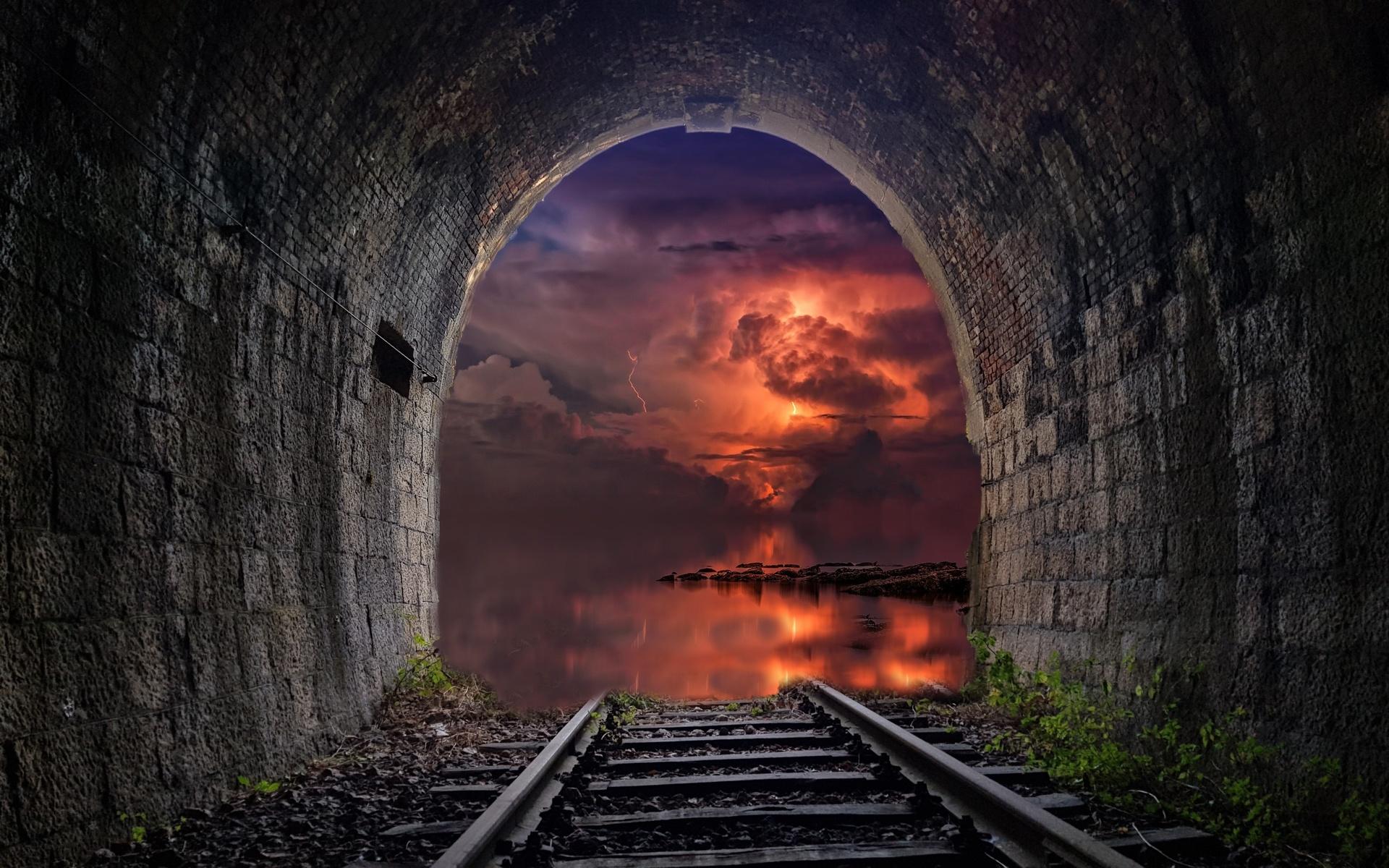 туннель, рельсы, закат, неизвестность, красиво