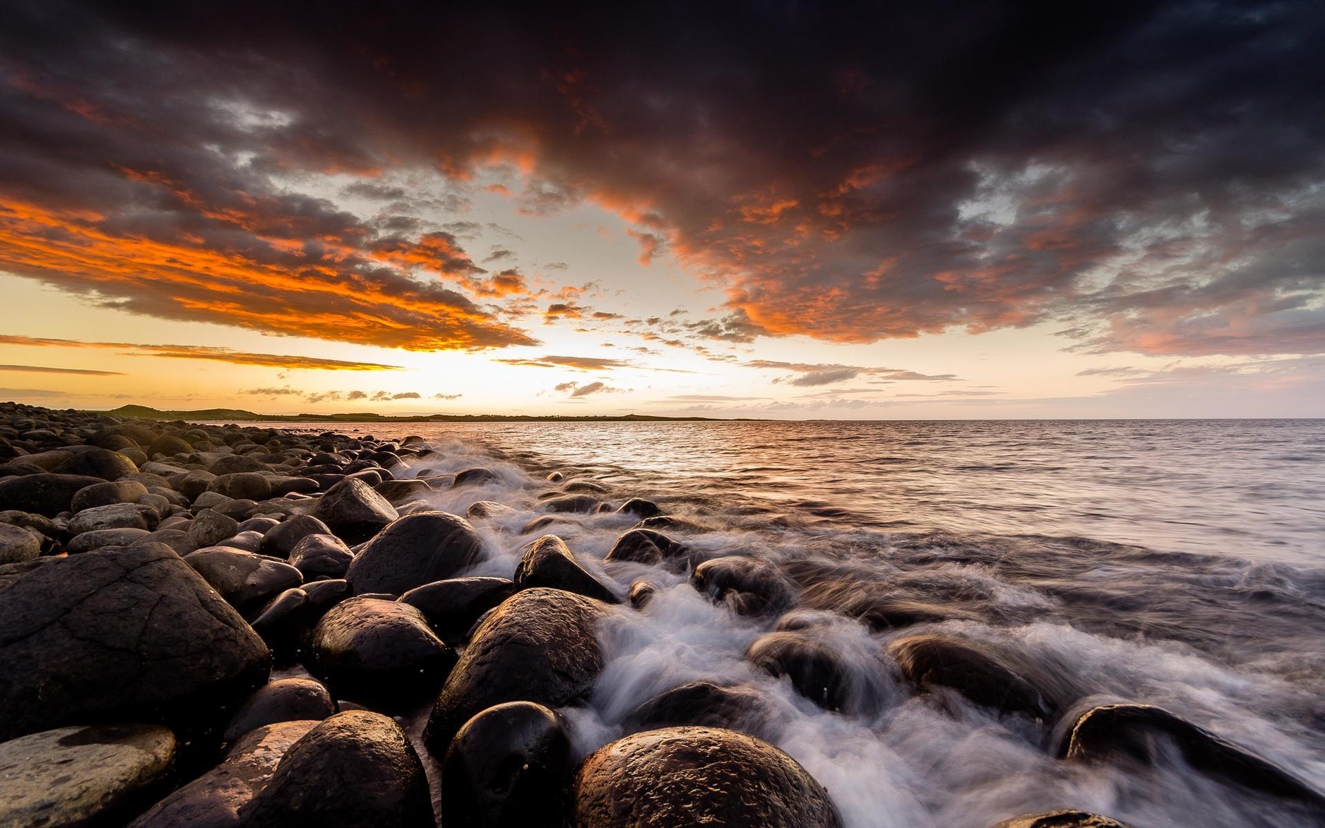 закат, горизонт, волны, камни