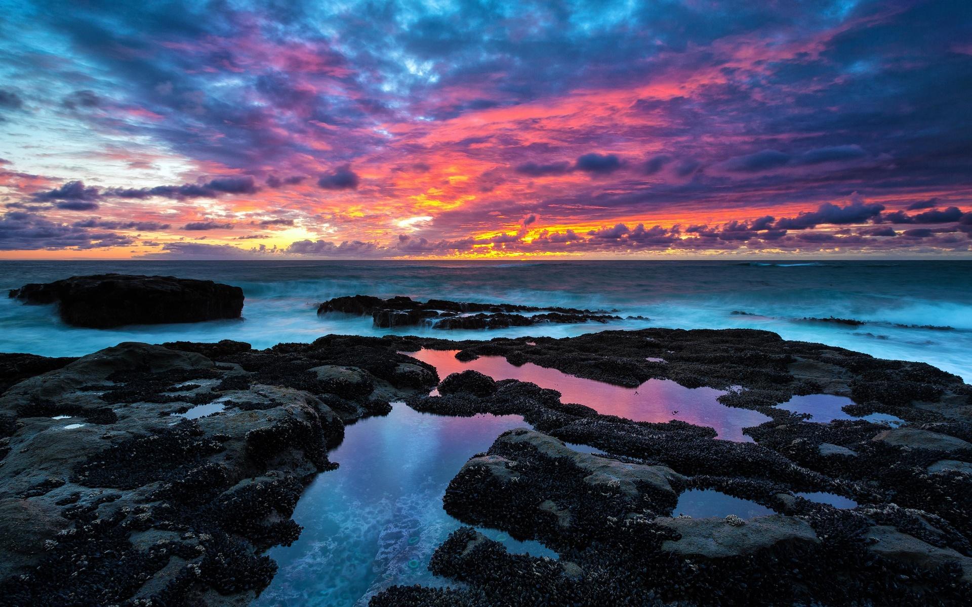 закат, в скалистом пляже, природа