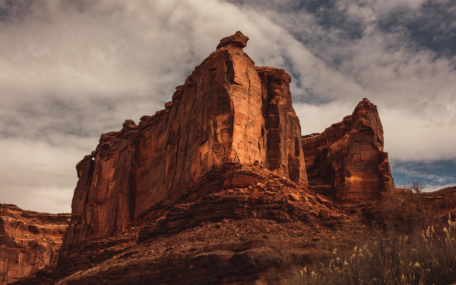 каньон, скала, небо, пещера