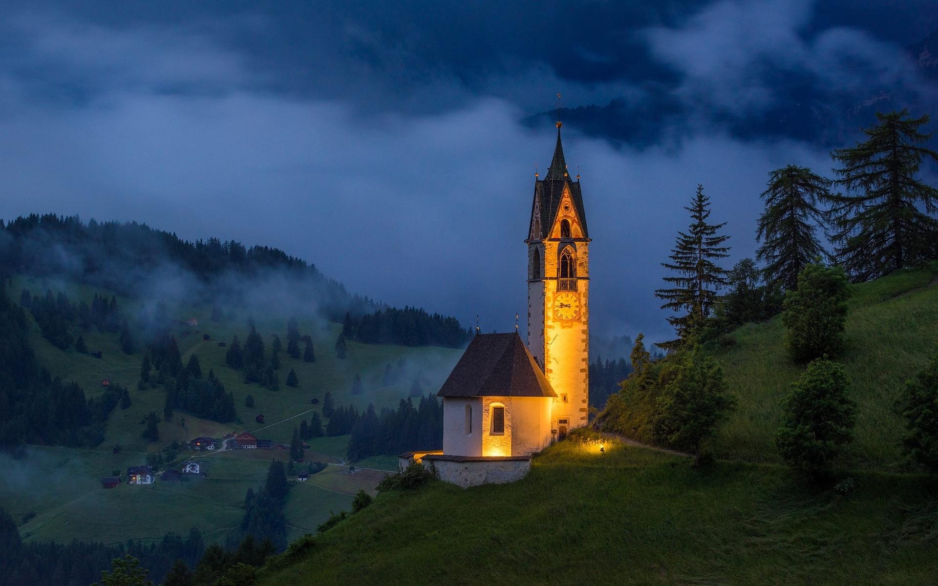 пейзаж, горы, ночь, природа, деревня, италия, церковь, доломиты, st. barbara church