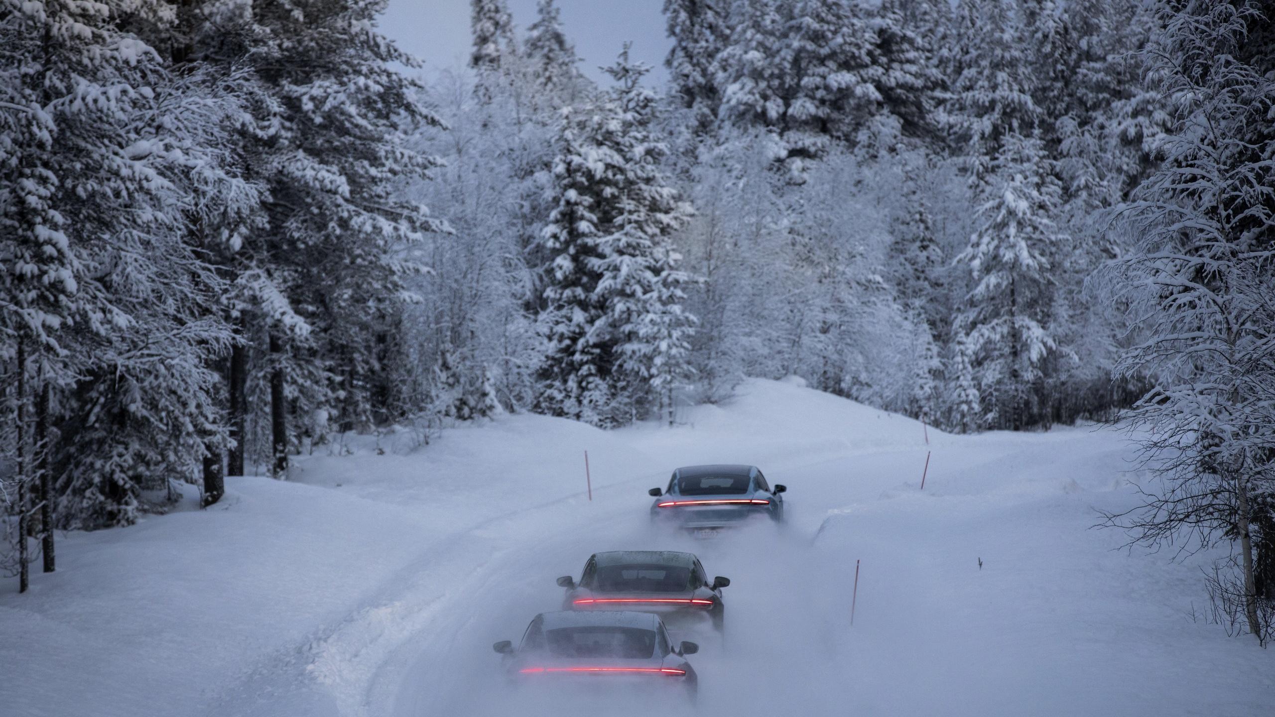 porsche, taycan, порше, зима, снег