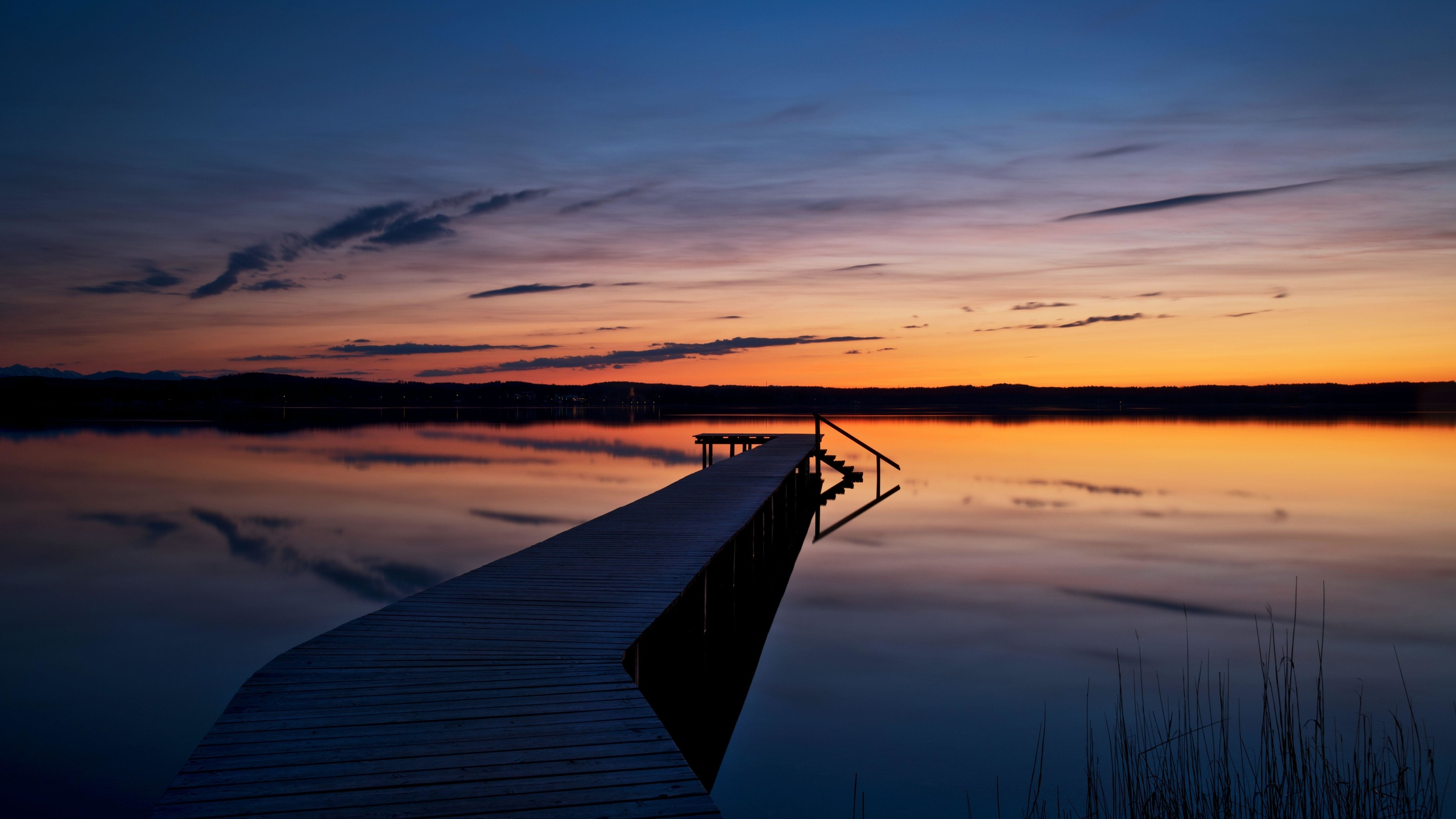 закат, мост, пирс, горизонт