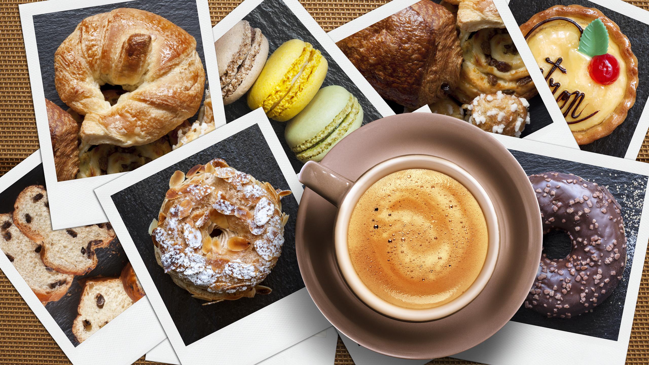 кофе, капучино, круассан, выпечка, Чашка