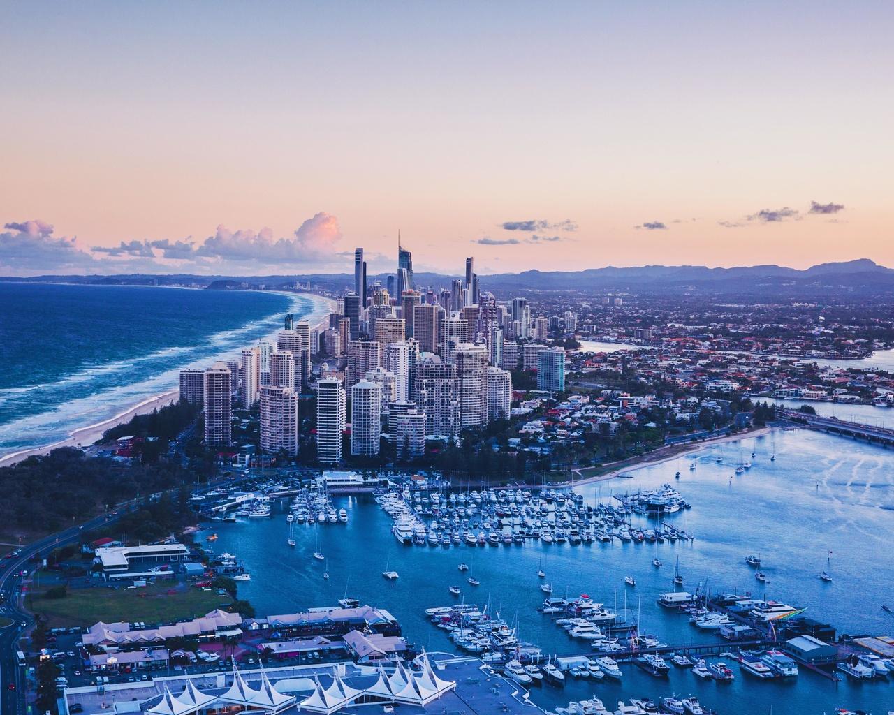 город, вид сверху, архитектура, океан, побережье
