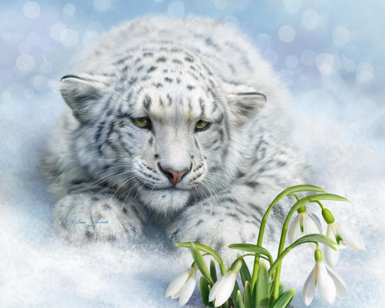 леопард, большая кошка, белый, цветы, арт