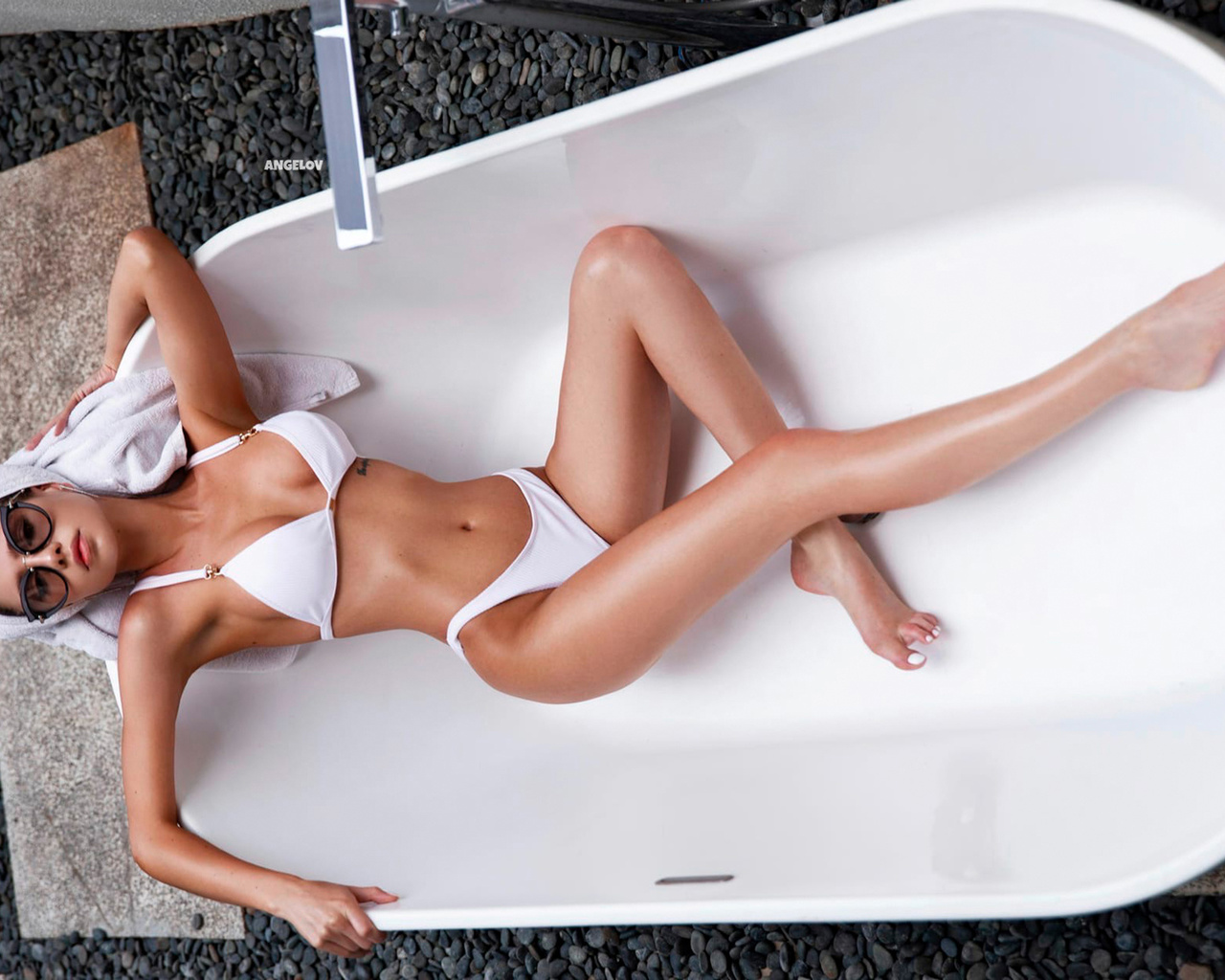 women, top view, bathtub, white bikini, belly, towel head, tattoo, brunette, armpits, women with glasses, hips, evgenii angelov, evgeny angelov, evgeniy angelov