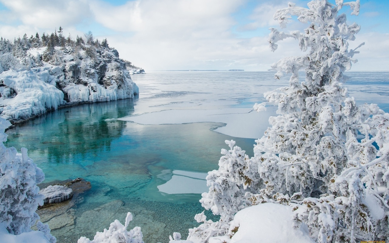 зима, снег, лес, озеро, лёд