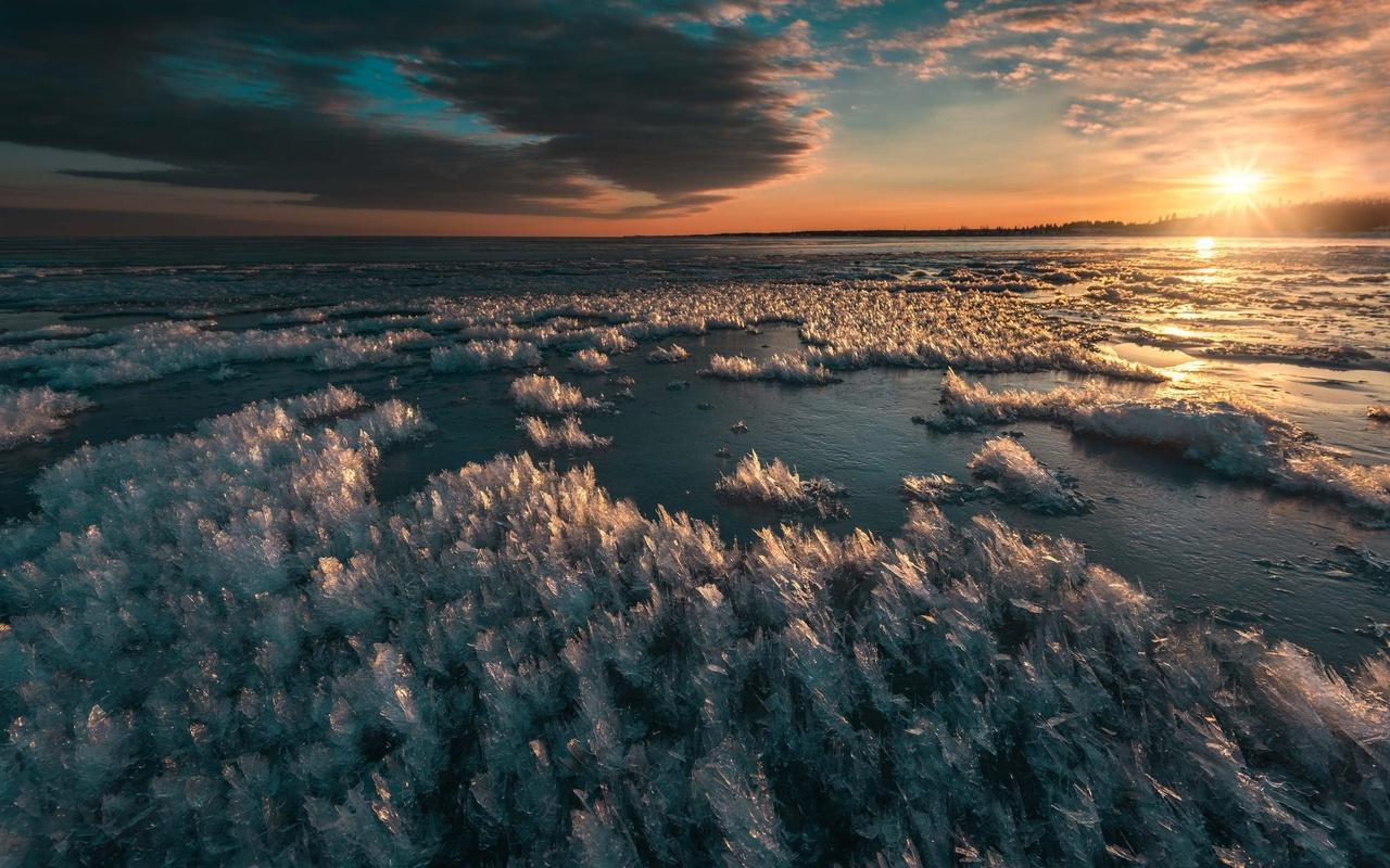 вода, лёд, небо, облака