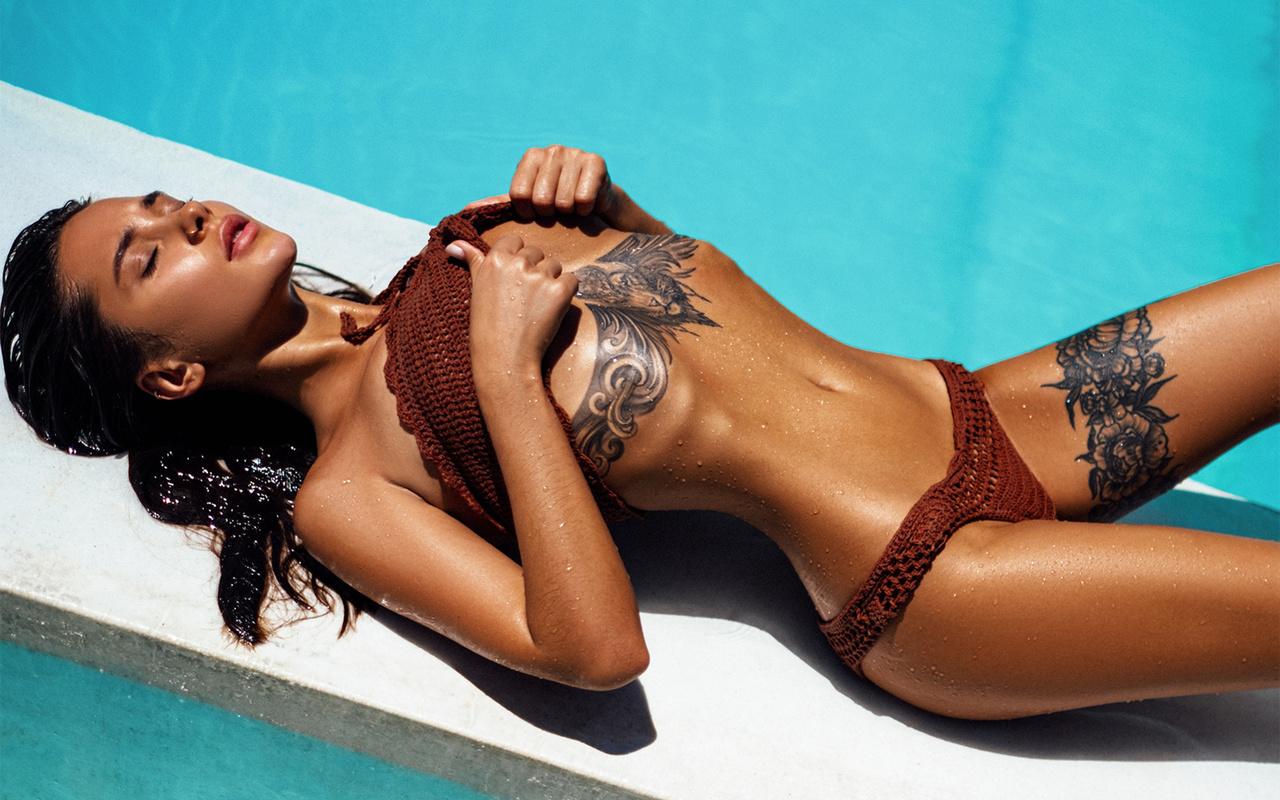 women, kristina shcherbinina, closed eyes, bikini, tanned, wet body, wet hair, swimming pool, tattoo, ribs, hips, pink lipstick, liya silver, pornstar, women outdoors, sunbathing, nose ring