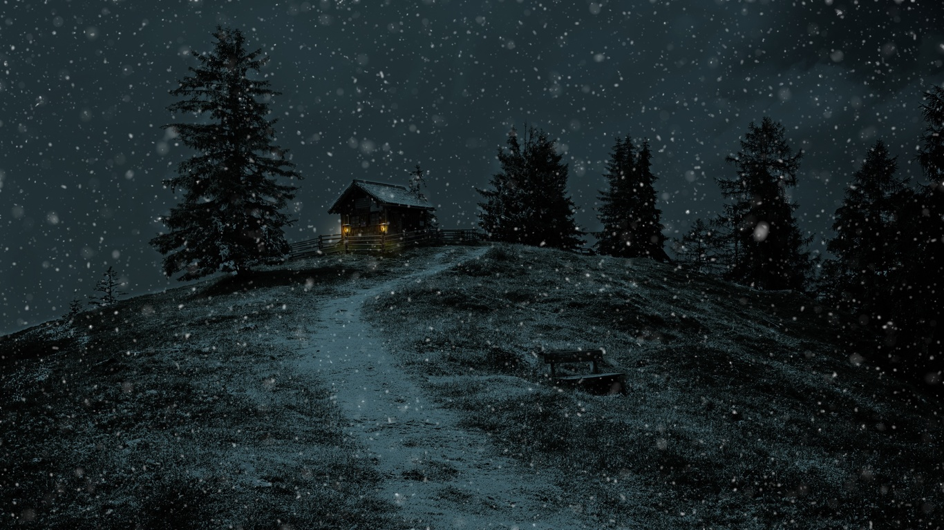 ночь, зима, снег, домик, свет