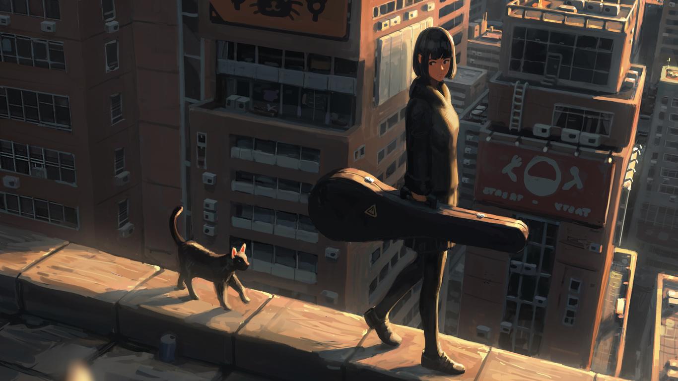anime, девочка, прогулка