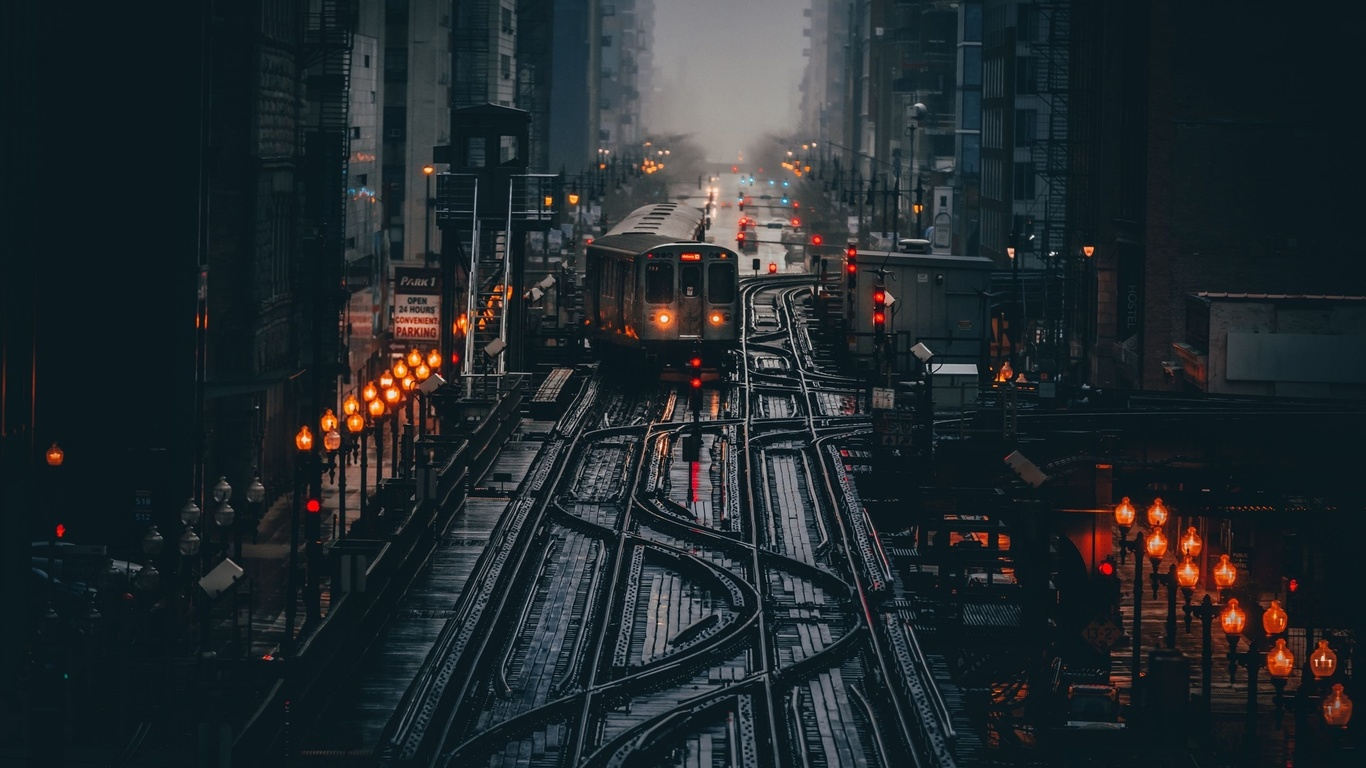 чикаго, иллинойс, сша, город, трамвай