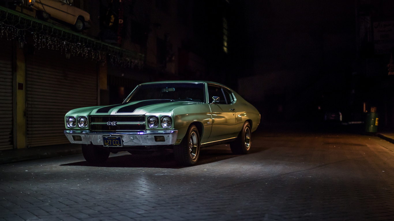 chevrolet, chevelle, ss, авто,зеленый,темный фон