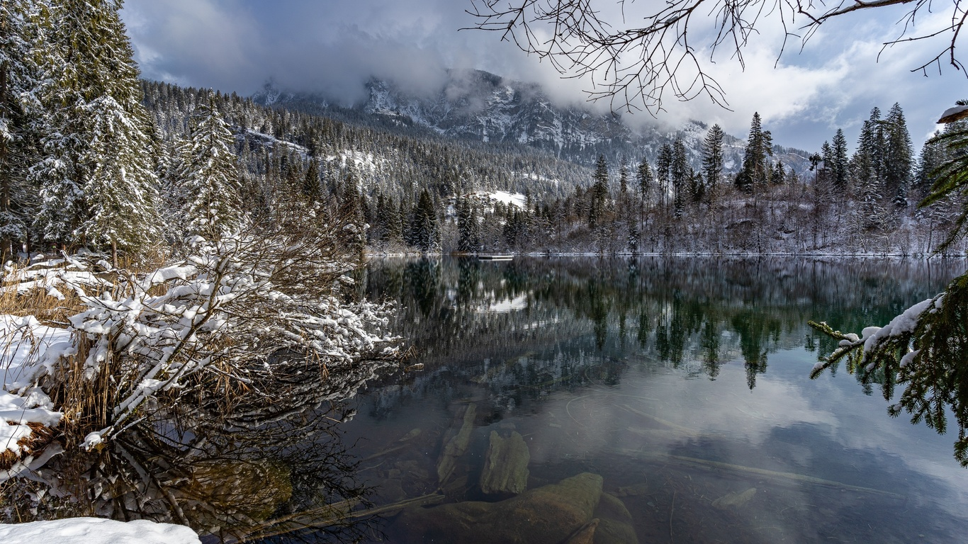 швейцария, озеро, зима, lake, cresta, снег, природа
