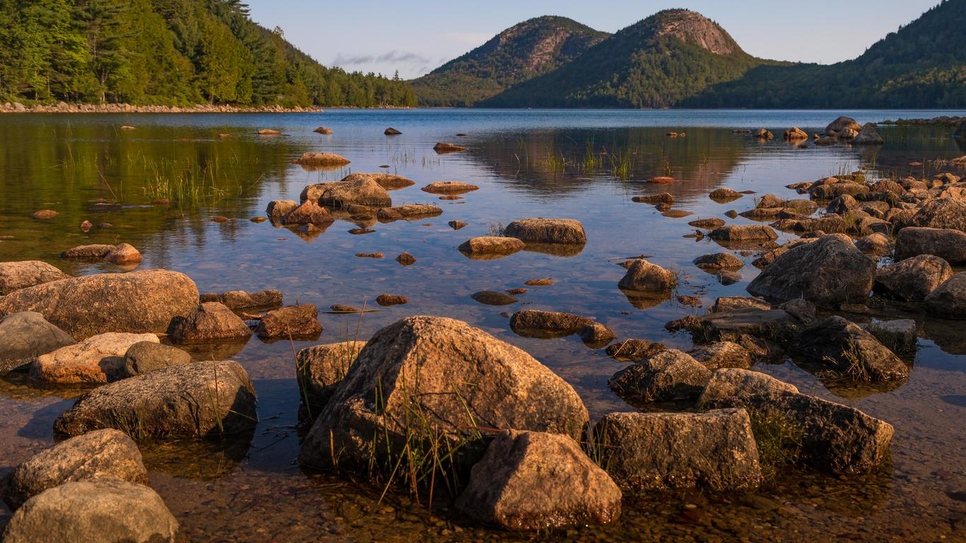 озеро, холмы, камни, глыбы
