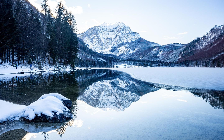 горы, снег, озеро, отражение