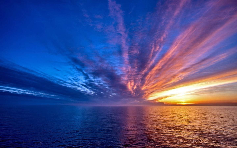 закат, море, небо, облака