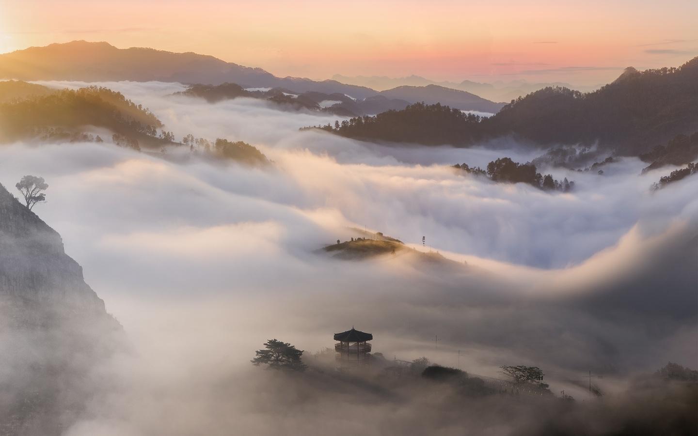 пейзаж, гора, туман, азия, небо