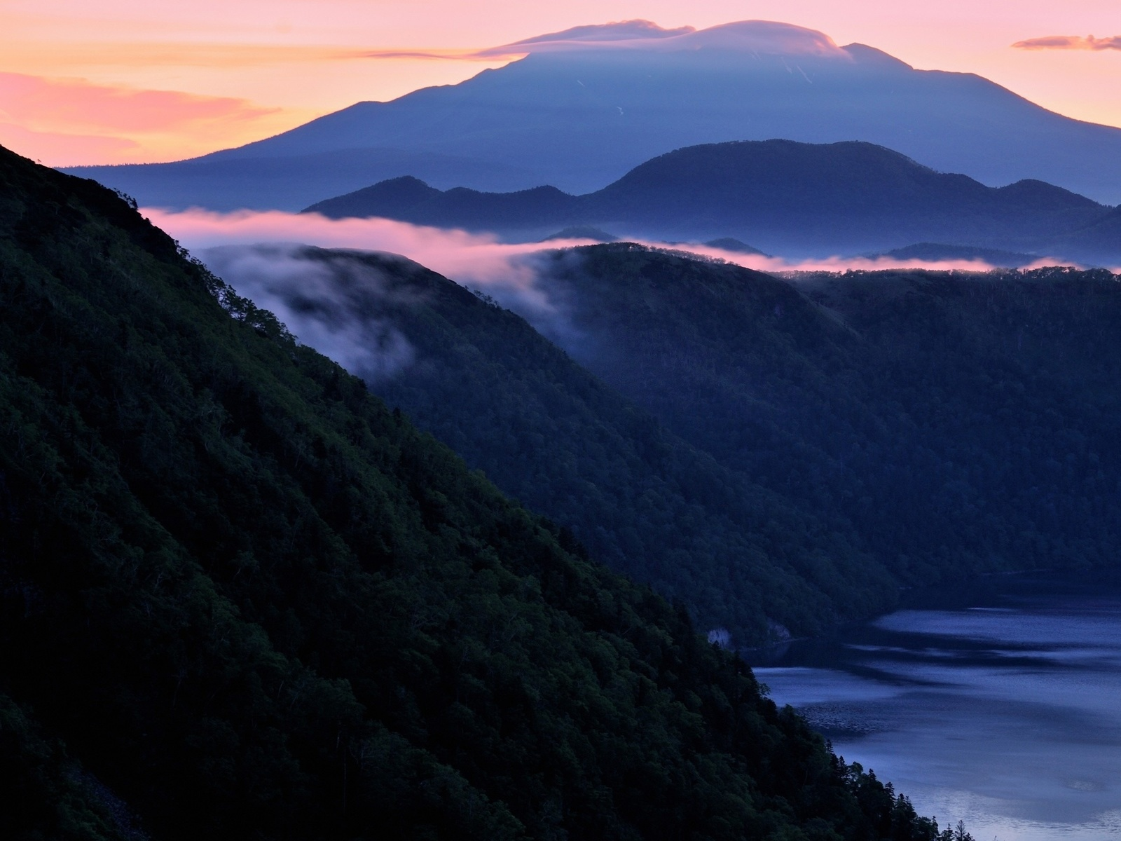 горы, туман, море, утро