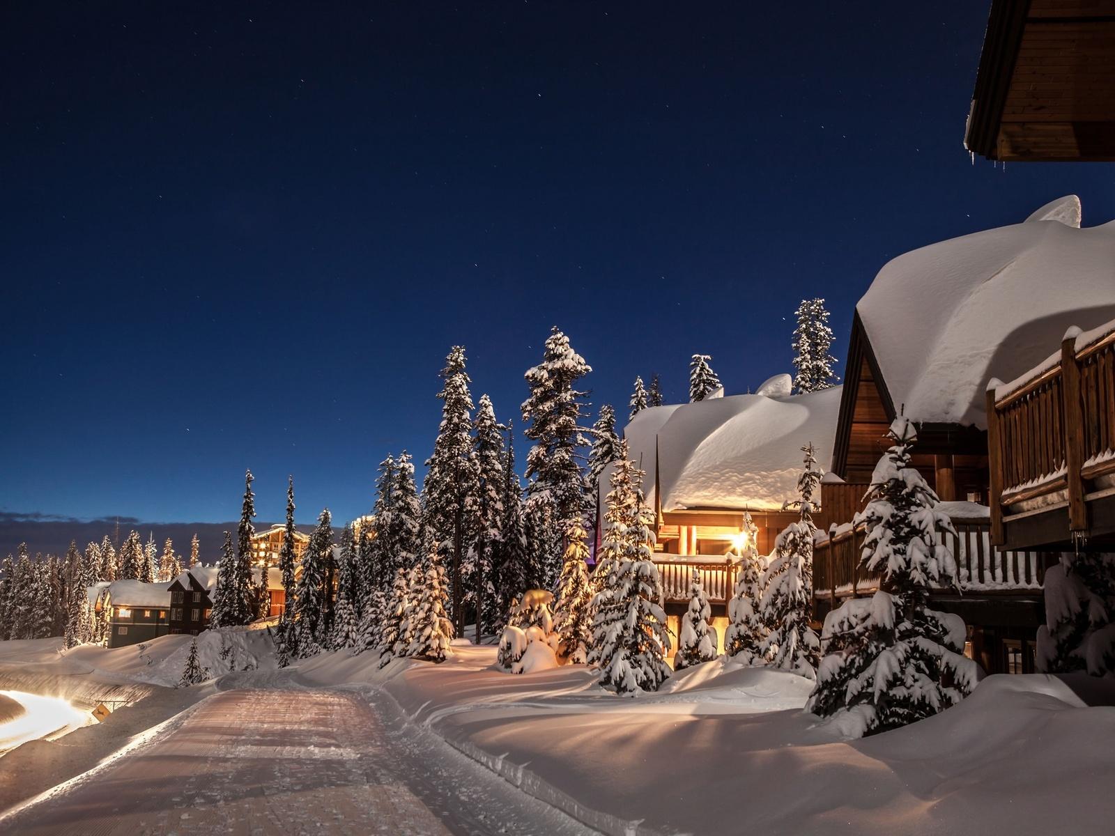 дома, огни, снег, зима, ночь