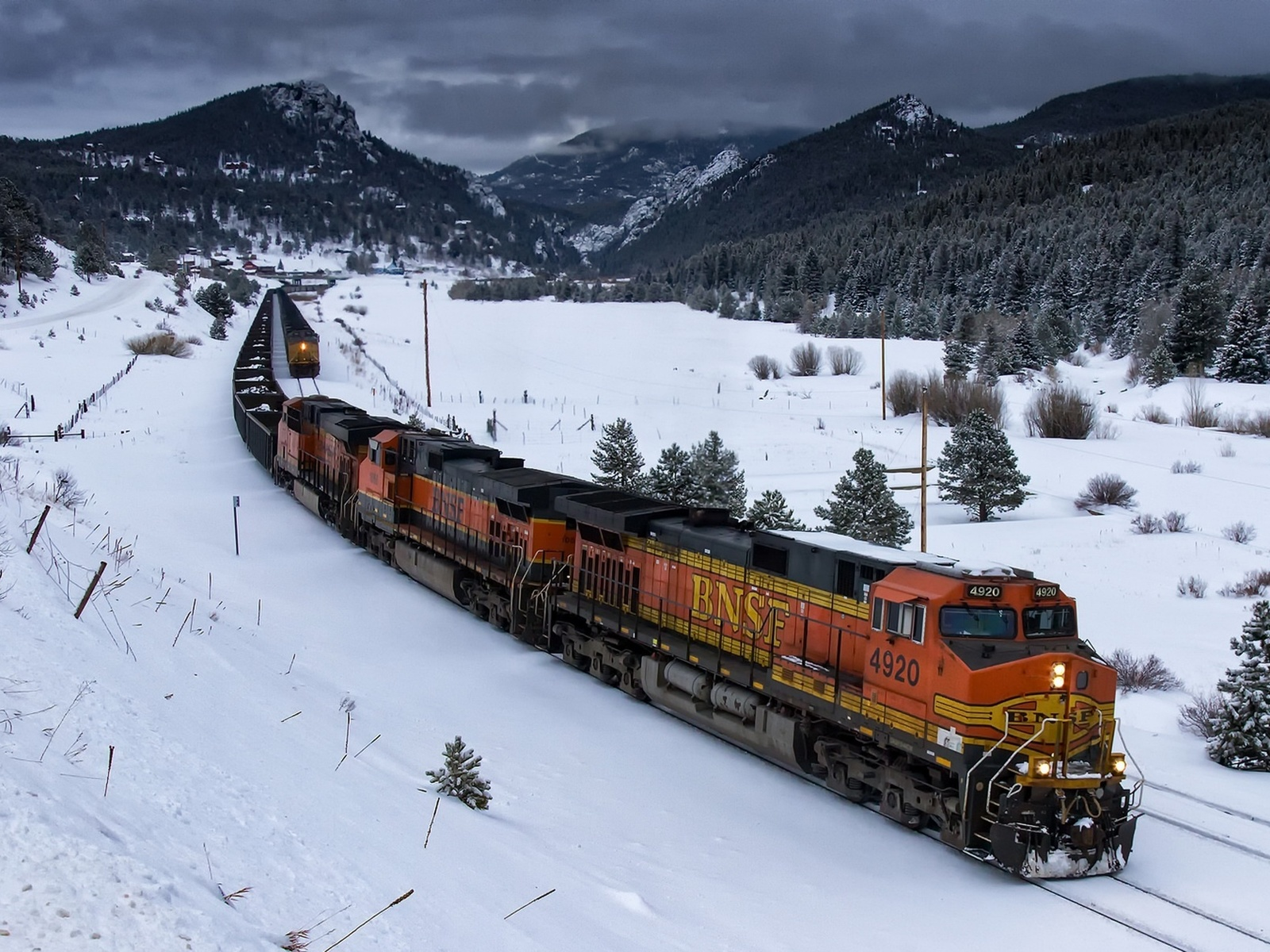 поезд, вагоны, зима