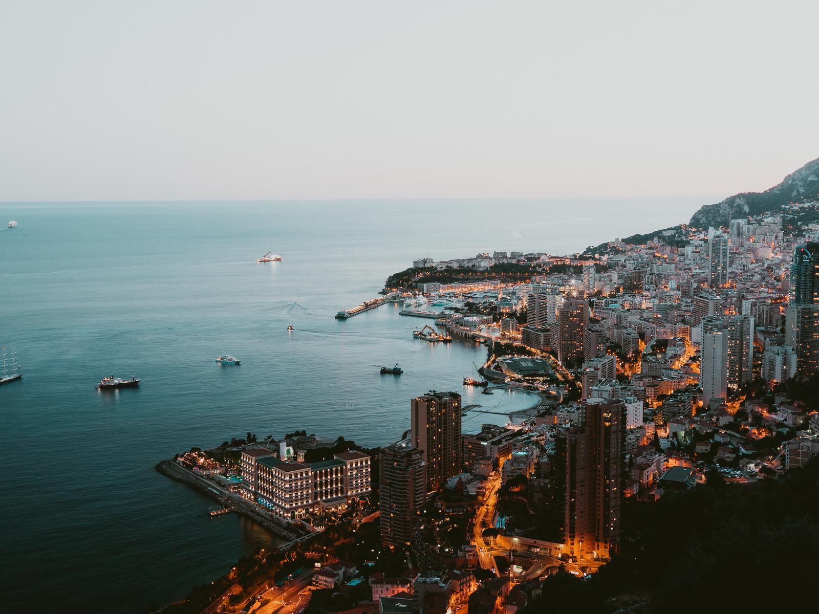 монако, побережье, дома, монте-карло, корабли, утро, сверху, город