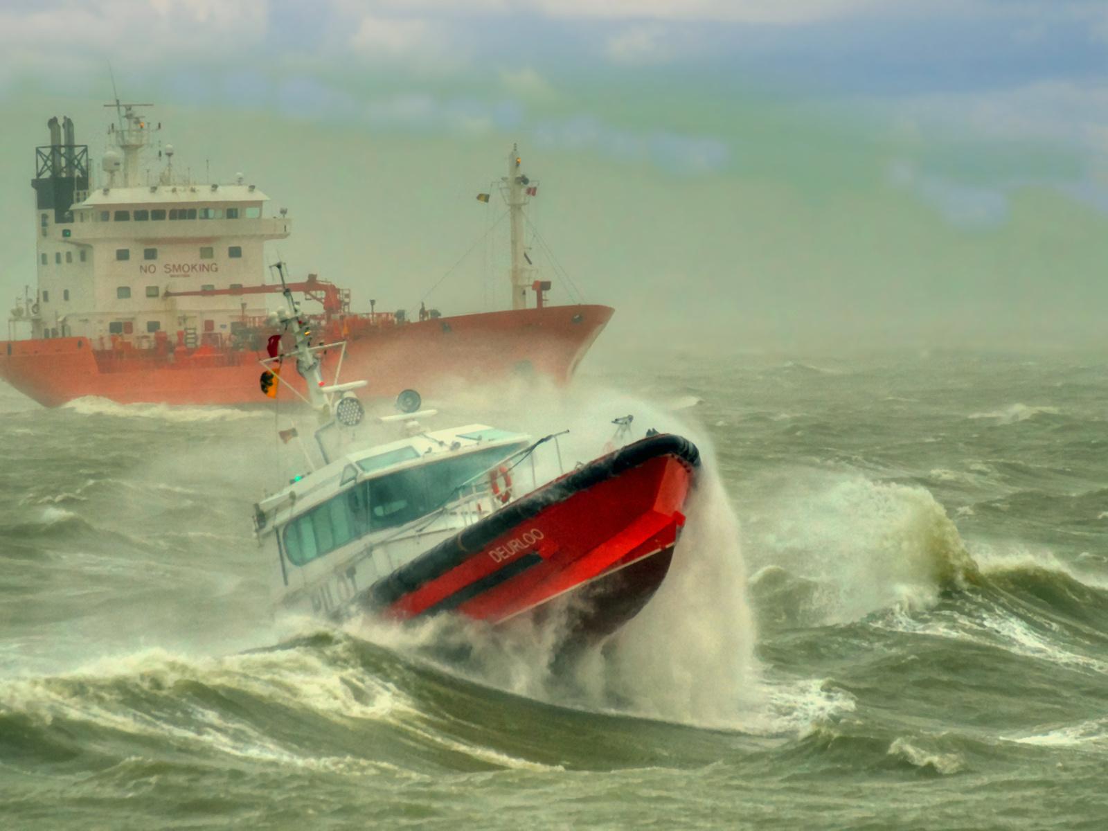 шторм, корабль, катер