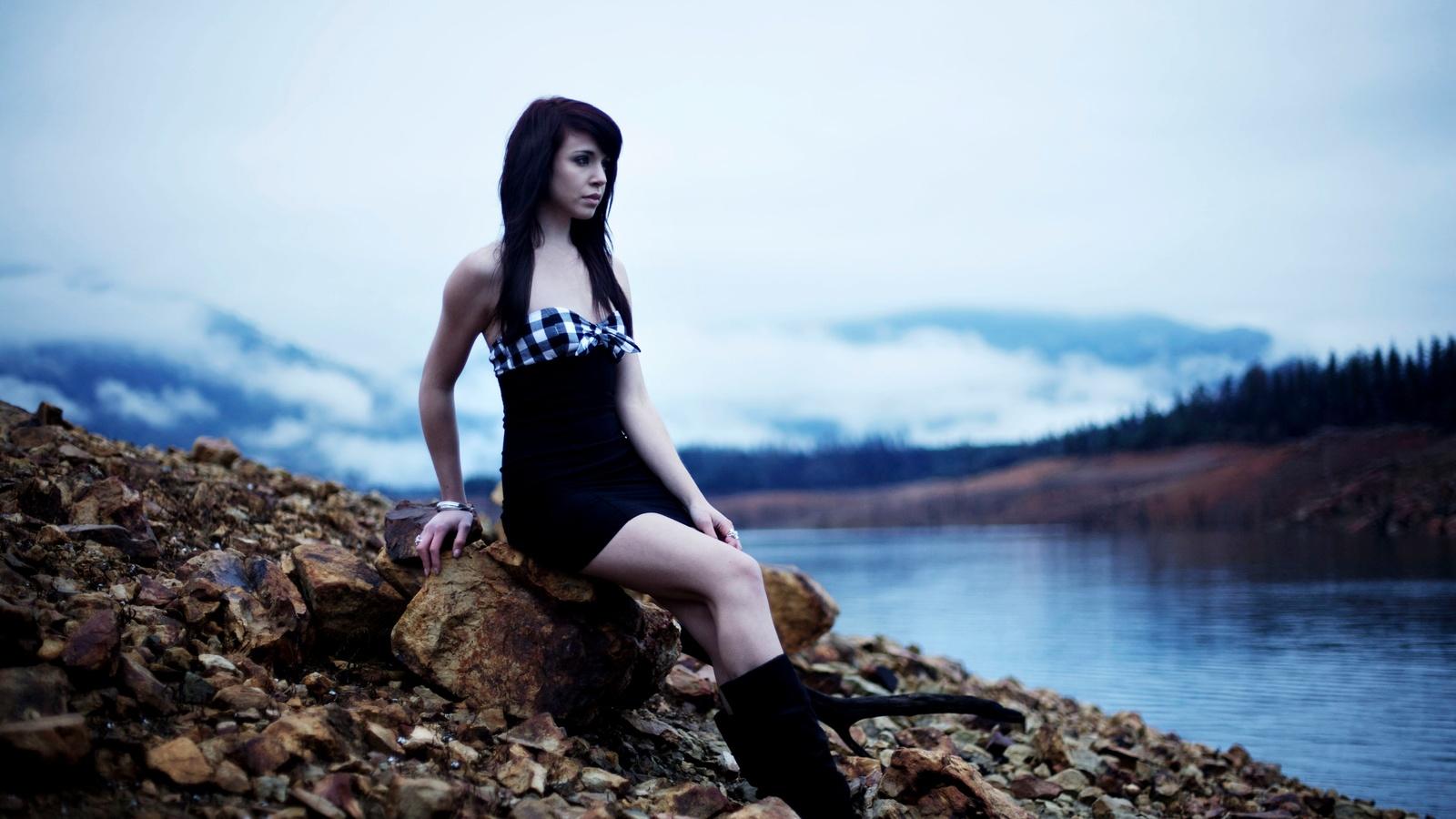 девушка, природа, камни