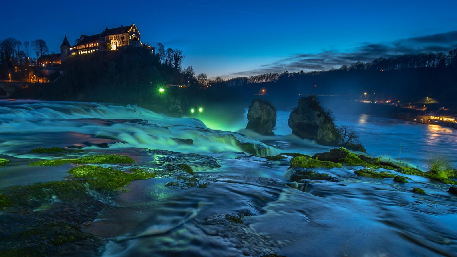 водопад, рейн, водопад, шаффхаузен, швейцария
