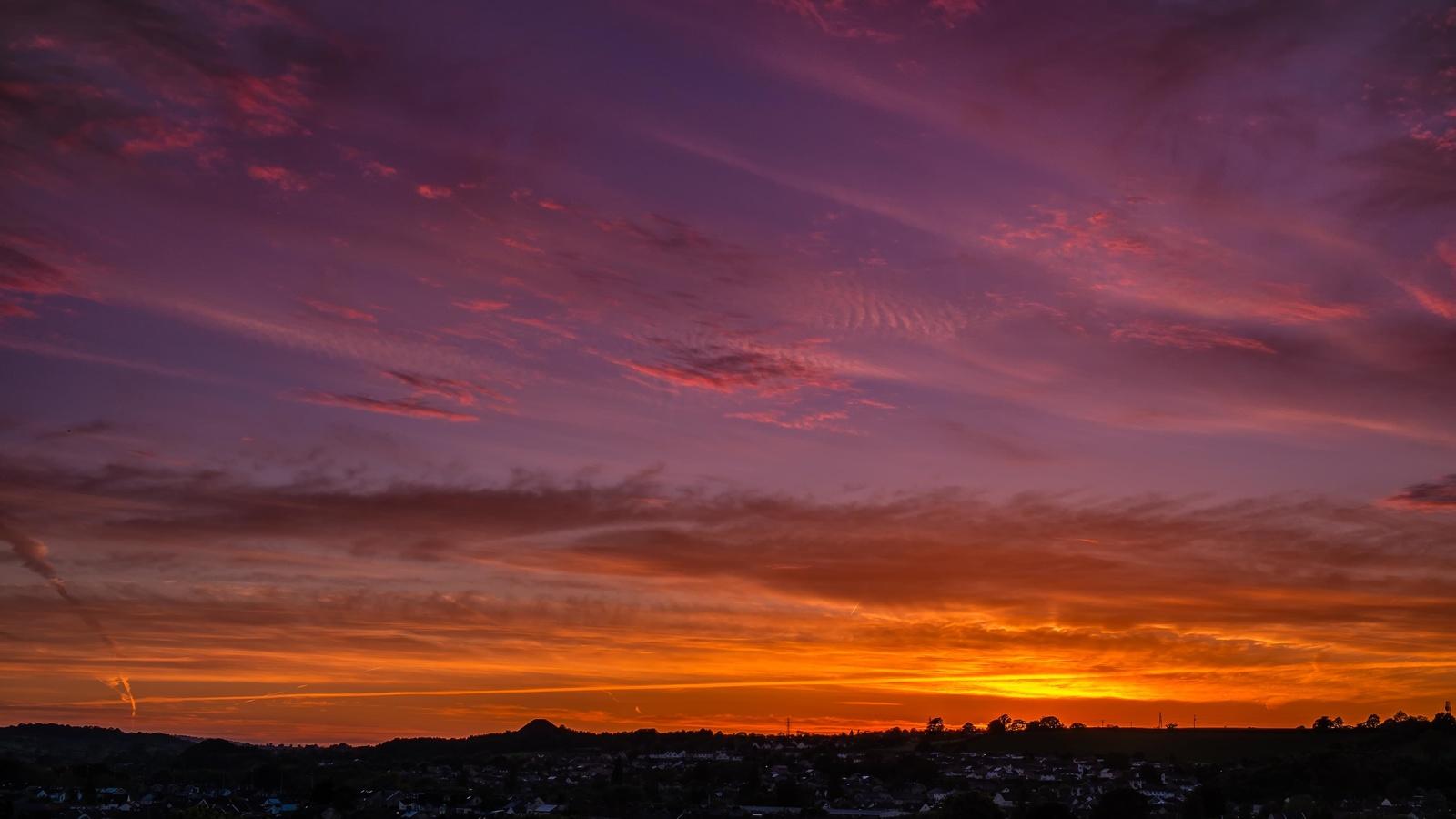небо, закат, горизонт, облака