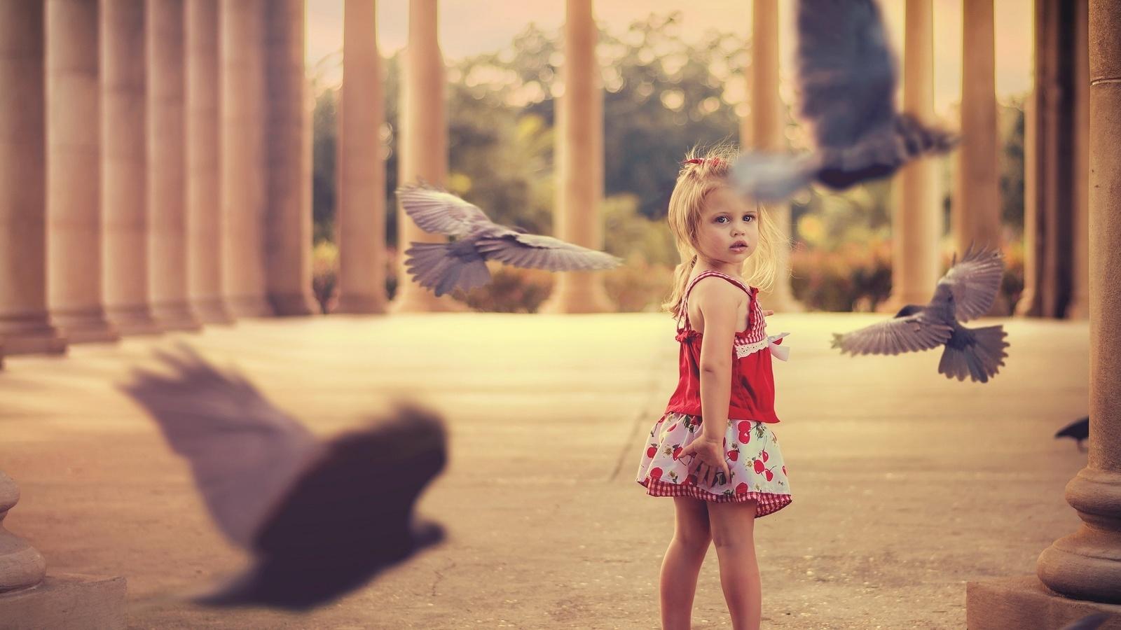 девочка, ребенок, фото, позитив, птицы мира, голубь